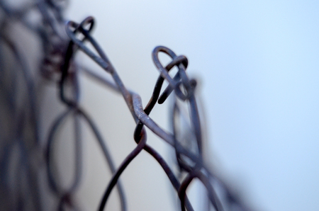 metal wire: Picture of Rusty Metal wire fence, detail.