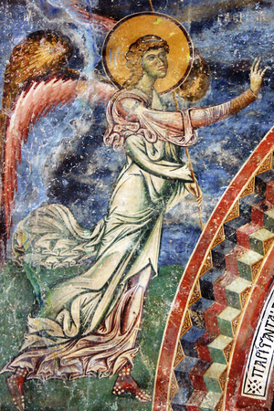 angel gabriel: Frescoe of Archiangel Gabriel, church Saint George, village of Kurbinovo, Macedonia, 1191 AD
