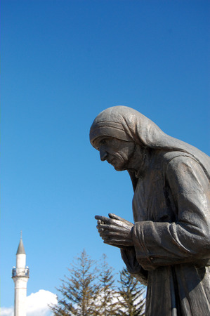 beatification: STRUGA, MACEDONIA -MARCH 04 : Mother Teresa monument in Struga on March 04 , 2008. Monument Humanitarian Worker and Nobel Prize Winner Mother Teresa in  Struga, Macedonia. Editorial