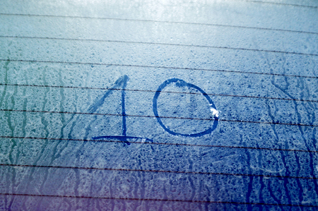 number 10: Picture of a Number  10  on a frosty glass Stock Photo