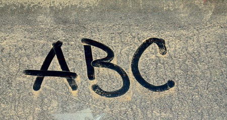 lexicon: picture of dirty alphabet on a rear car window