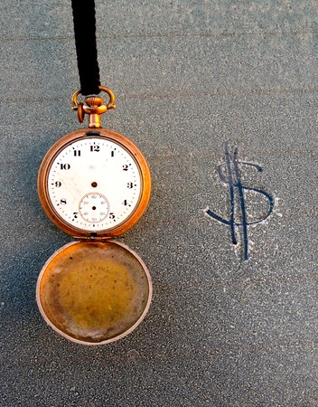 picture of a Vintage pocket clock and text on frost car window