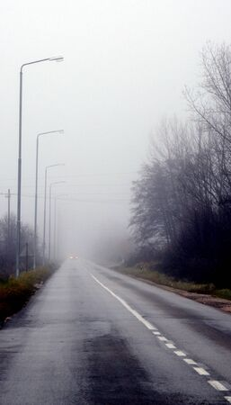 distort: Picture of a Fog on the road, Traffic concept Stock Photo
