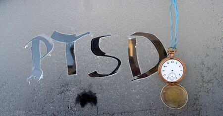 frost: Picture of a PTSD words on frost background