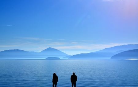Picture of a couple having relationship difficulties,lake prespa, macedonia