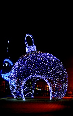 christmas tree ball: Giant christmas ball in the sreet in Bitola, Macedonia