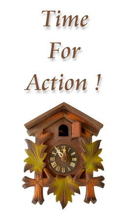 phrase: Picture of a Wall  clock with phrase  time for action