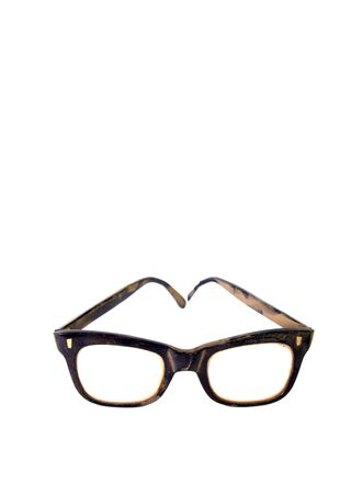 dusty: Picture of a an Old dusty and dirty black eyeglasses Stock Photo