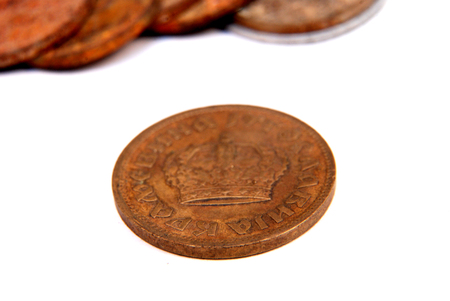 numismatist: Picture of a Vintage old rusty coins Stock Photo