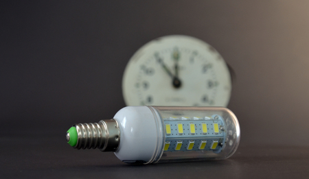face close up: Picture of a led light bulb,new generation energy saving object