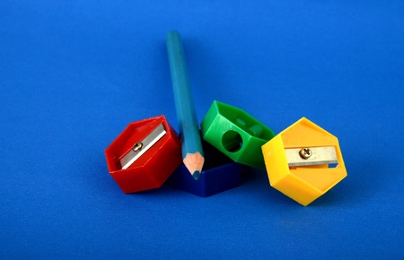 sharpeners: Pictureof a Colour pencil  sharpeners on blue Stock Photo