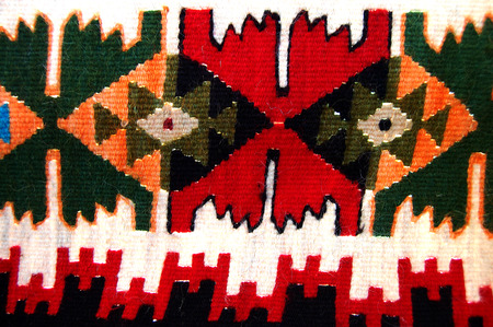 hand woven: Picture of a traditional  textile colors of macedonia , texture