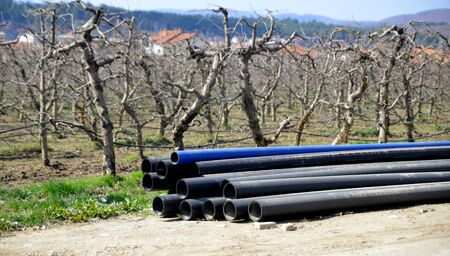 local supply: picture of a plastic industrial Water pipes