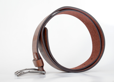 suede belt: Picture of a Brown leather men belt on white Stock Photo