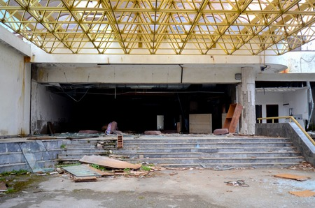 Picture of a destruction of an abandoned commercial building