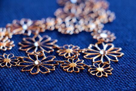 bijoux: Picture of a Bijoux necklace on a fabric background Stock Photo