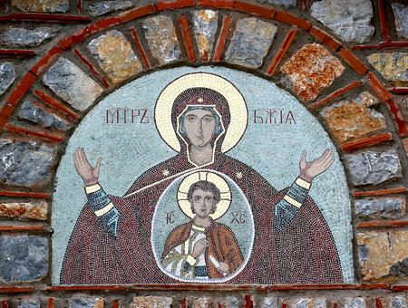 mosaic fresco of a madonna with jesus Stock Photo