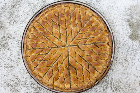 turkish dessert: Turkish dessert baklava on plate Stock Photo