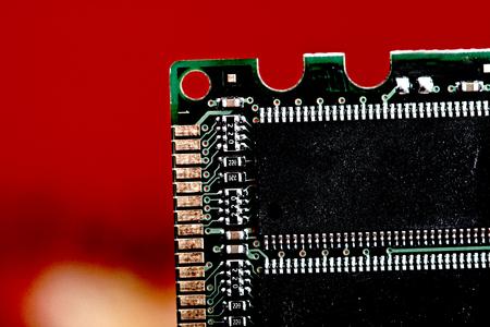 computer memory: closeup details of computer memory (RAM) Stock Photo