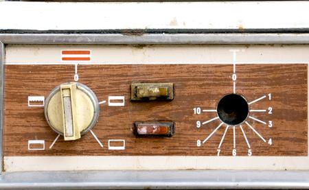panel de control: la imagen de una cosecha perillas Horno, panel de control, macro