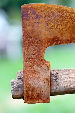 oxidated: picture of an old rusty oxidated chopping axe