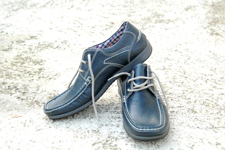 outsole: picture of a Pair of stylish blue man shoes. Beauty and fashion. . Stock Photo