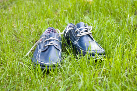 picture of a Pair of stylish blue man shoes. Beauty and fashion. . Stock Photo