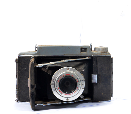 folding camera: RESEN , MACEDONIA- JANUARY 5,2014: Kodak tourist camera is American made folding roll film cameras from Eastman Kodak. The Tourist II, introduced in May of 1951.