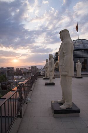 forefathers: SKOPJE, MACEDONIA - MARCH 9,2015:statues of an intellectuals and forefathers of the country .Part of a government Project Skopje 2014.