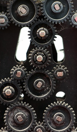 dusty: fragment of the machine. plastic dusty and dirty gears