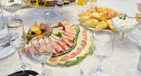 dinner food: picture of a well decorated mixed food on a table