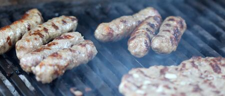 kebob: picture of a Barbecue Beef Kebabs On The Hot Grill Close-up.
