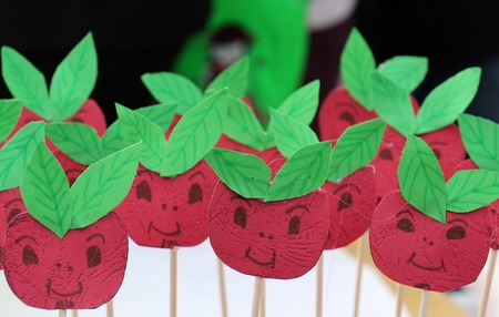 picture of a cute smiley apple shaped handmade paperwork