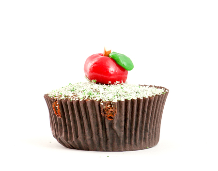 Apple Cupcake with red apple shape bonbon on the top