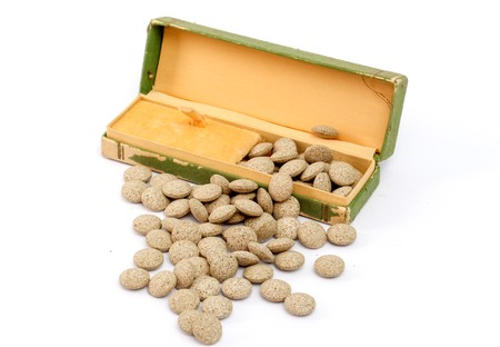 picture of a Medicine herbal pills and vintage watch box Zdjęcie Seryjne