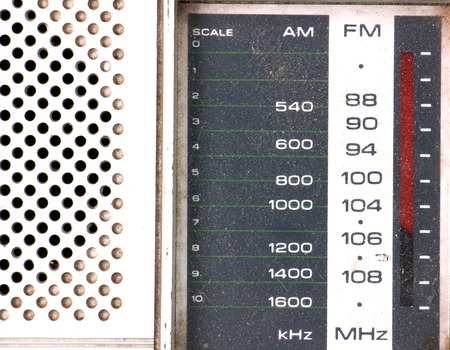 tuner: picture of a Scale Tuner of a Vintage Retro Radio on white background