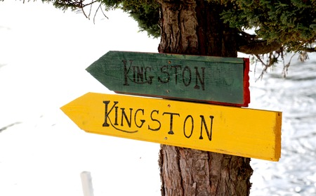 kingston: picture of a Tourist sign KIngston on wood Stock Photo