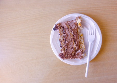 shiver: picture of a pieces of tasty cake ona a disposable plate