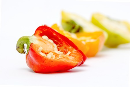 capsaicin: picture of a small chili bell paprika on white background