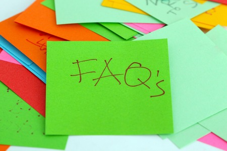 faqs: picture of a Note papers, text faq`s