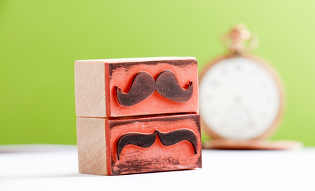 moustaches: picture of a moustaches rubber stamp. Movember mens health awareness concept. Stock Photo