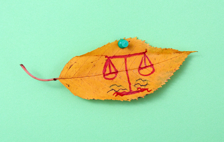 fall arrest: picture of a autumn walnut leaves with handwritten law scale