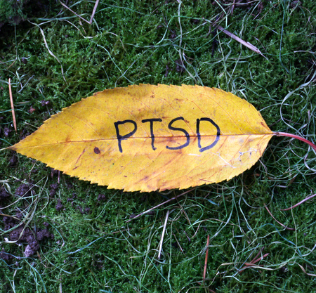picture of a autumn walnut leaves with handwritten text ptsd Stock Photo
