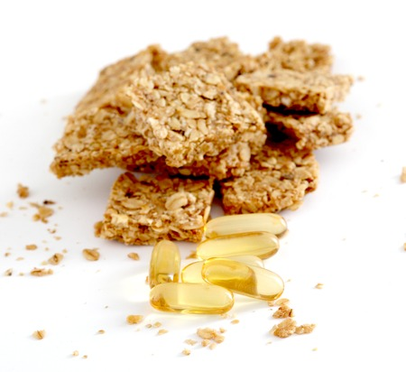 vitamine: picture of a Granola bar on white background Stock Photo