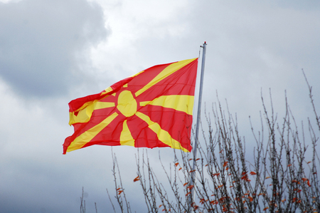 picture of a Republic of Macedonia flag on the mast Stock Photo