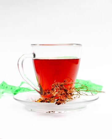 picture of a St. Johns wort tea on white background Stock Photo