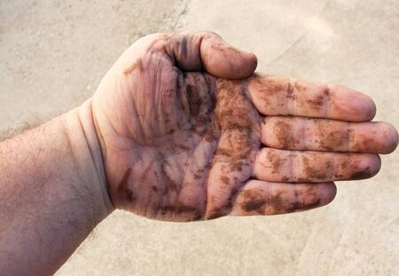 decompose: dirty man hands after working on a garden , close up Stock Photo
