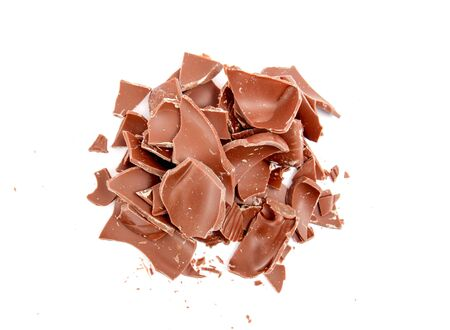 chocolate pieces: picture of a Chocolate pieces on white background Stock Photo