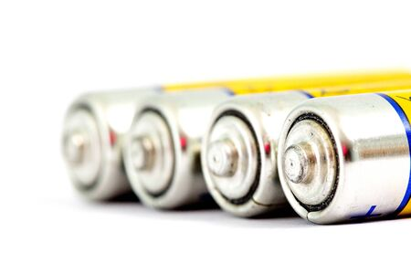 Image of a four alkaline batteries AA size with shallow dof Stock Photo