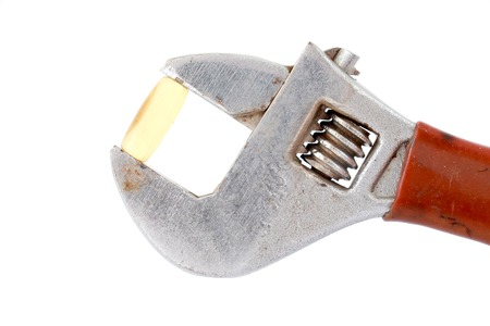 image of a omega 3 capsule on adjustable pliers pipe wrench